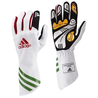136-0107 Adidas Kart XLT Gloves White-Red-Green